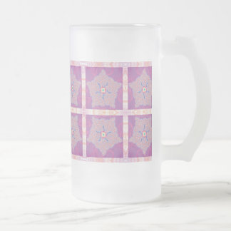 Frosted Glass - Purple Star Fractal Pattern Frosted Glass Mug