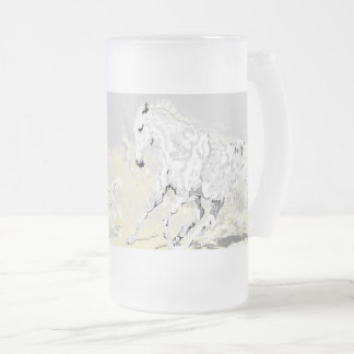 Frosted Glass  White Stallion in Motion Frosted Glass Beer Mug