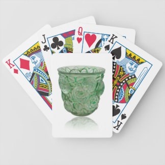 Frosted Green Art Deco glass vase with Roses. Bicycle Playing Cards