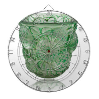 Frosted Green Art Deco glass vase with Roses. Dart Boards