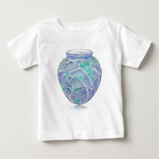 Frosted green Art Deco vase with grasshoppers. Baby T-Shirt