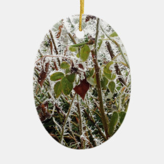frosted leaves ceramic ornament