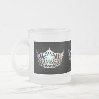 Frosted Mug-Miss America Crown Frosted Glass Coffee Mug