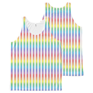 Frosted Rainbow With White Vertical Stripes All-Over Print Singlet