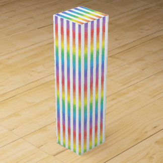 Frosted Rainbow With White Vertical Stripes Wine Gift Box
