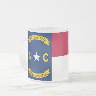 Frosted small glass mug with flag North Carolina