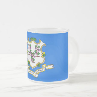 Frosted small glass mug with flag of Connecticut
