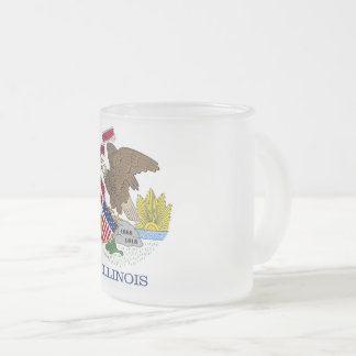Frosted small glass mug with flag of Illinois