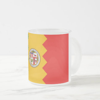 Frosted small glass mug with flag of Los Angeles