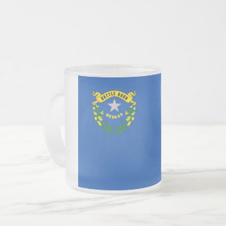 Frosted small glass mug with flag of Nevada
