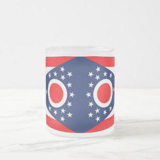 Frosted small glass mug with flag Ohio, USA