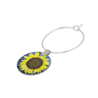 Frosted Sunflower Close Up Photograph Wine Charm