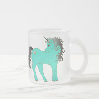 Frosted Unicorns In Love Frosted Glass Coffee Mug