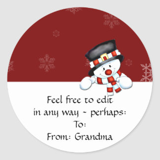 Frostie on Red with White Snowflakes Round Sticker