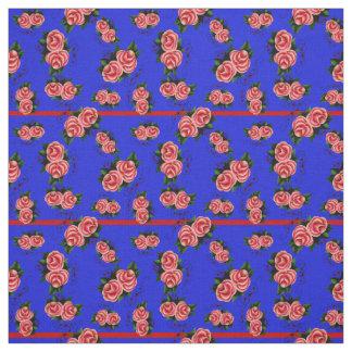 Frostrosen, folk rose flower, bud, blue striped fabric