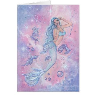 Frosty betta mermaid greeting card by Renee