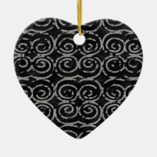 Frosty Black and White Pattern Ceramic Heart Decoration