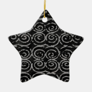 Frosty Black and White Pattern Ceramic Star Decoration
