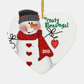 Frosty Blessings! Ceramic Heart Decoration