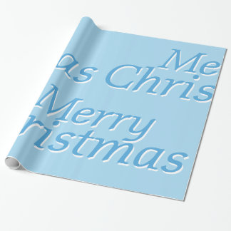 Frosty Blue Merry Christmas Wrapping Paper 2