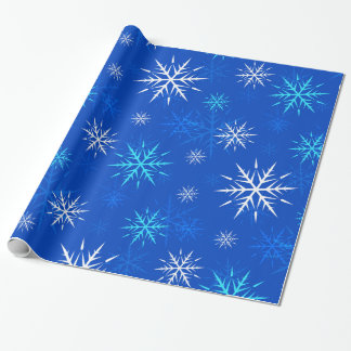 Frosty Blue Snowflake Wrapping Paper