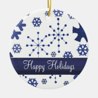 Frosty Blue Snowflakes Ceramic Ornament