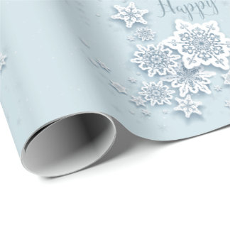 Frosty Blue Snowflakes Happy Holidays Wrapping Paper