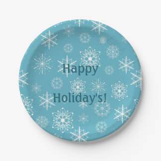 Frosty Blue Snowflakes Winter Holidays Celebration Paper Plate