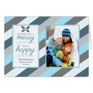 Frosty Blue Stripes Photo Folded Holiday Card