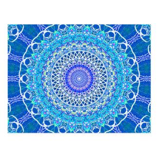 Frosty Blue Windows Kaleidoscope Postcard
