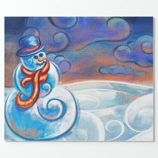 Frosty Blues Art Wrapping Paper