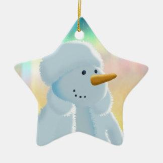 Frosty Ceramic Star Decoration