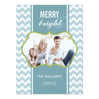 Frosty Chevron Family Holiday Flat Card Invitation