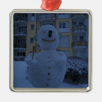 FROSTY SQUARE METAL CHRISTMAS ORNAMENT