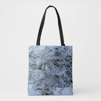 Frosty forest light blue pattern abstract design tote bag