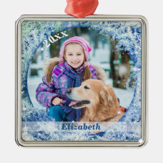 Frosty Frozen Frame Personalized Metal Ornament