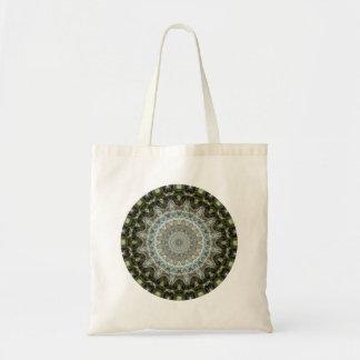 Frosty Green Leaf Mandala Tote Bag