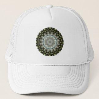 Frosty Green Leaf Mandala Trucker Hat