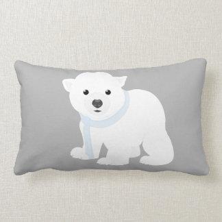Frosty grey Snow bear Lumbar Cushion