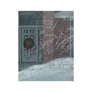 Frosty Holiday Door Stretched Canvas Print
