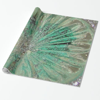 Frosty Icy Aqua Art Glass Wintery Elegance Wrapping Paper