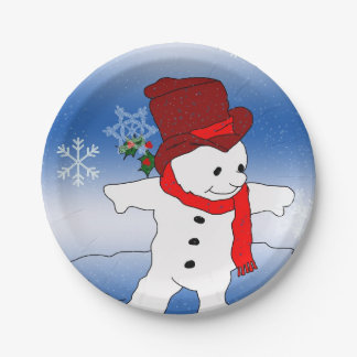 Frosty in Red 7 Inch Paper Plate