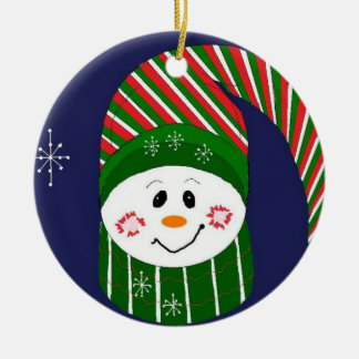 Frosty in Striped Hat and Scarf Ceramic Ornament