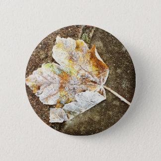Frosty Leaf 6 Cm Round Badge