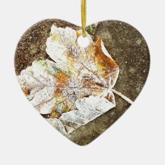 Frosty Leaf Ceramic Heart Decoration