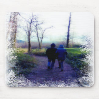 Frosty Morning Walk Together Mouse Pads