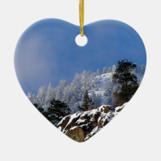 Frosty Mountain Ceramic Heart Decoration