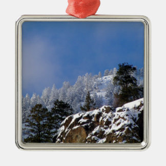 Frosty Mountain Silver-Colored Square Decoration