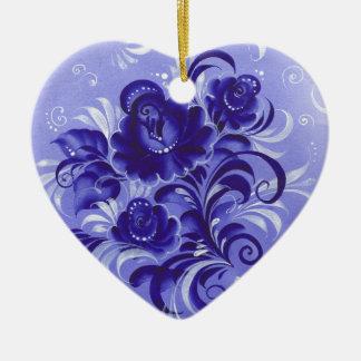 Frosty pattern ceramic heart decoration