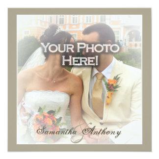 "Frosty Photo Wedding Invitations 5.25"" Square Invitation Card"